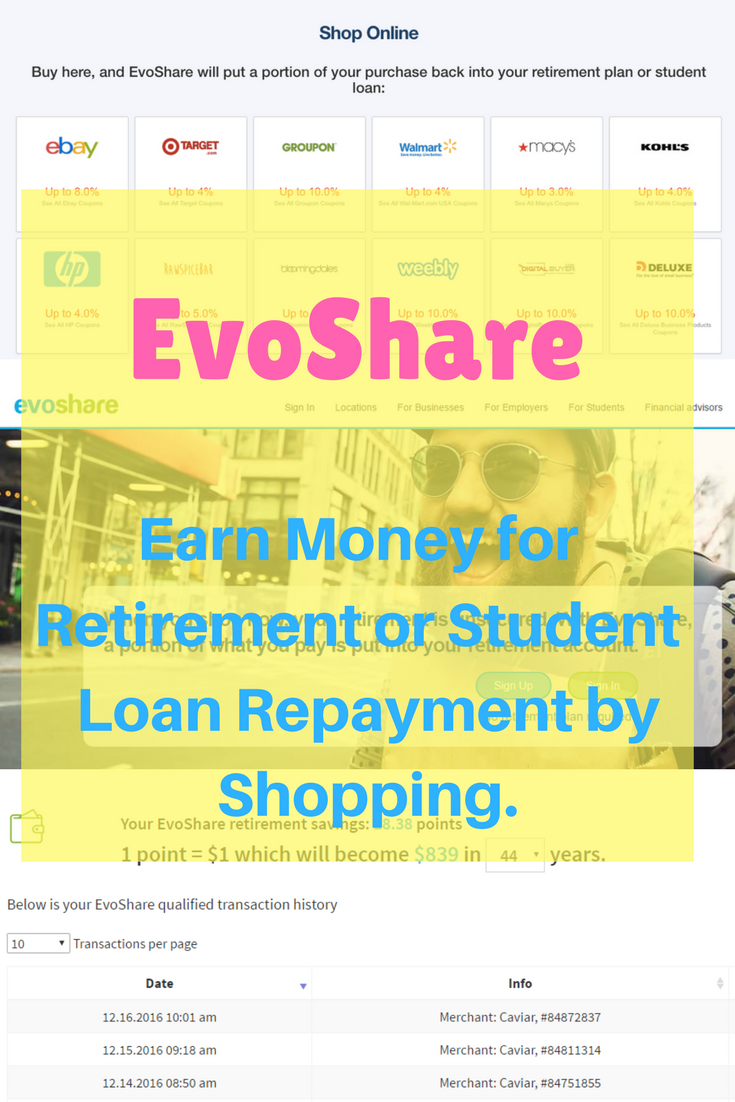 EvoShare Review - Debt Discipline - Discover EvoShare a new tool to help save for retirement or pay off student debt by shopping.