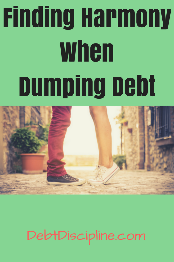 Finding Harmony When Dumping Debt - Debt Discipline - A couple working as a team when dumping debt can be a powerful force. let Couple Money show you how.